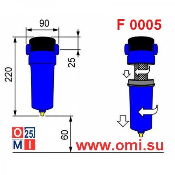 Фильтр OMI QF 0005 габаритный чертеж, размеры