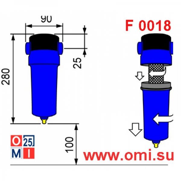 Фильтр OMI CF 0018, размеры